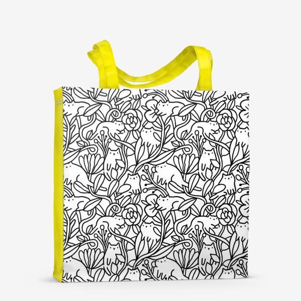 Сумка-шоппер «Коты в цветах»