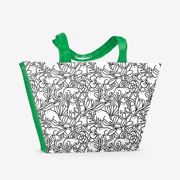 Пляжная сумка «Коты в цветах»