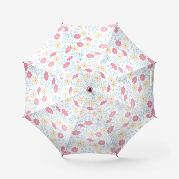 Зонт «Нежный узор с цветочками»