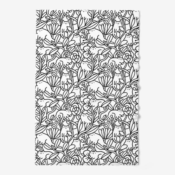 Полотенце «Коты в цветах»