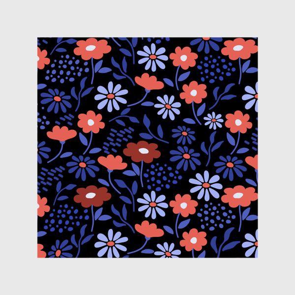 Шторы «Яркие абстрактные цветочки на черном.»