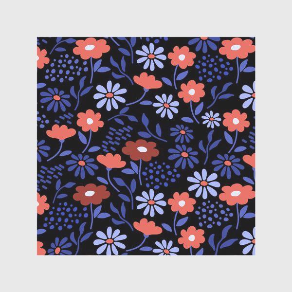 Скатерть «Яркие абстрактные цветочки на черном.»