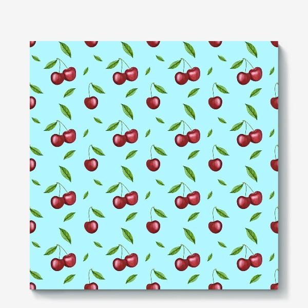 Холст «Черешня, вишня на голубом»