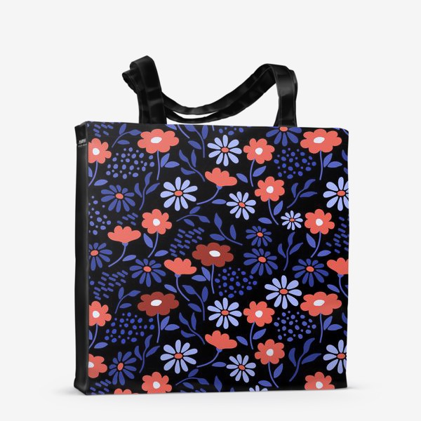 Сумка-шоппер «Яркие абстрактные цветочки на черном.»