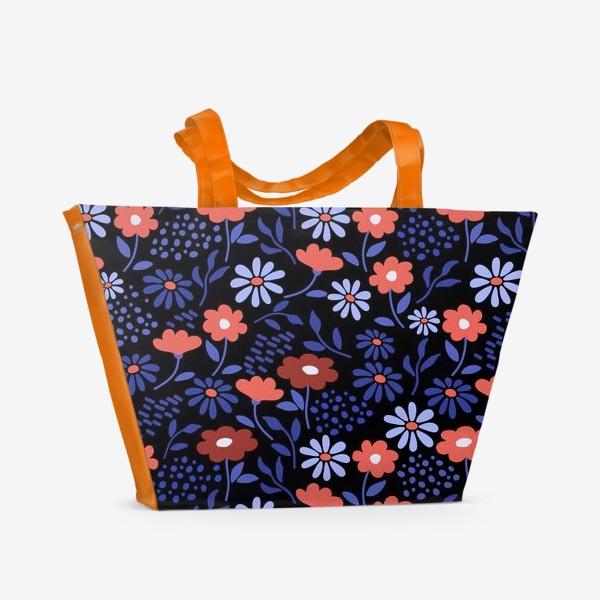 Пляжная сумка «Яркие абстрактные цветочки на черном.»