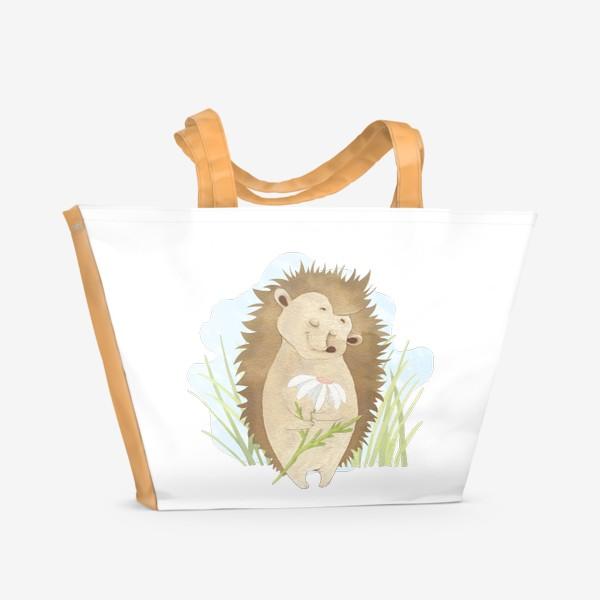 Пляжная сумка «Ёжик с ромашкой»