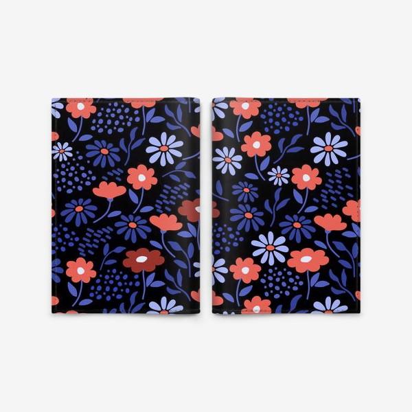 Обложка для паспорта «Яркие абстрактные цветочки на черном.»