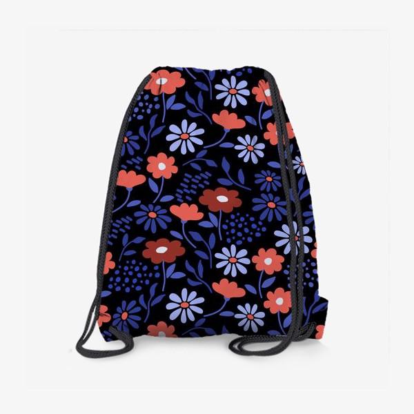 Рюкзак «Яркие абстрактные цветочки на черном.»