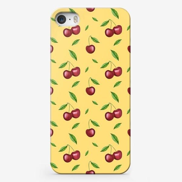 Чехол iPhone «Черешня, вишня на желтом»