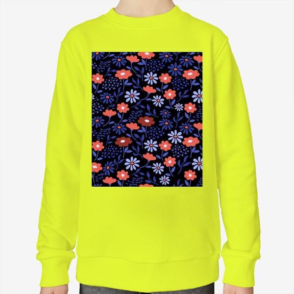 Свитшот «Яркие абстрактные цветочки на черном.»