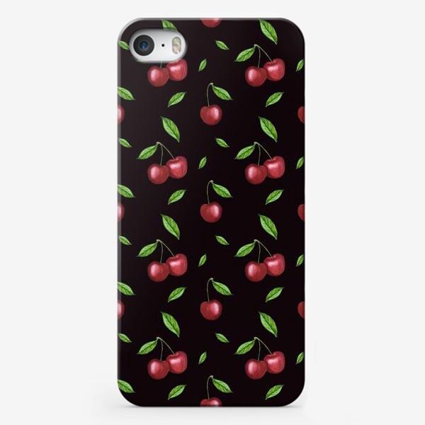 Чехол iPhone «Черешня, вишня на чёрном»