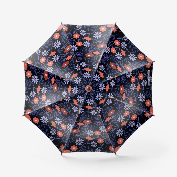 Зонт «Яркие абстрактные цветочки на черном.»