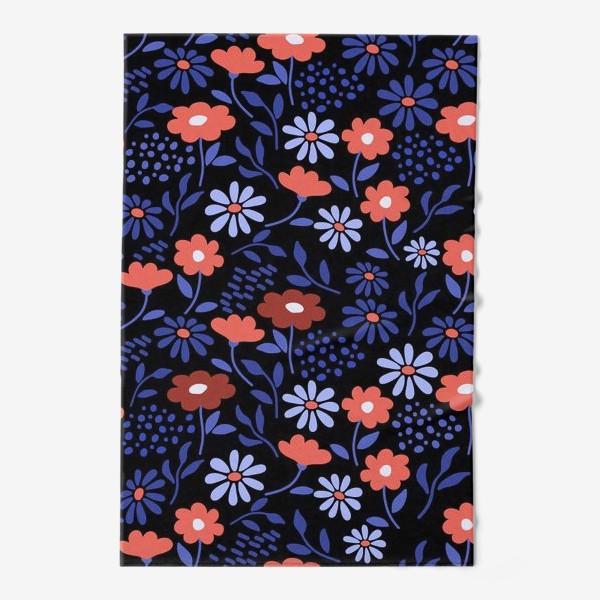 Полотенце «Яркие абстрактные цветочки на черном.»