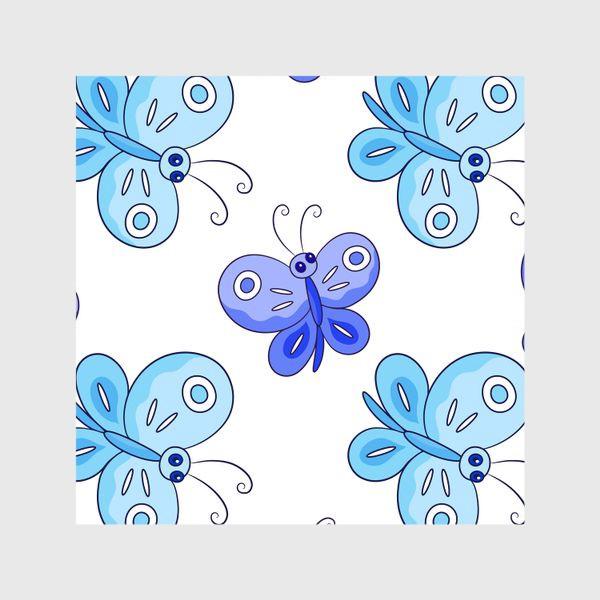 Шторы «Голубые и фиолетовые бабочки»