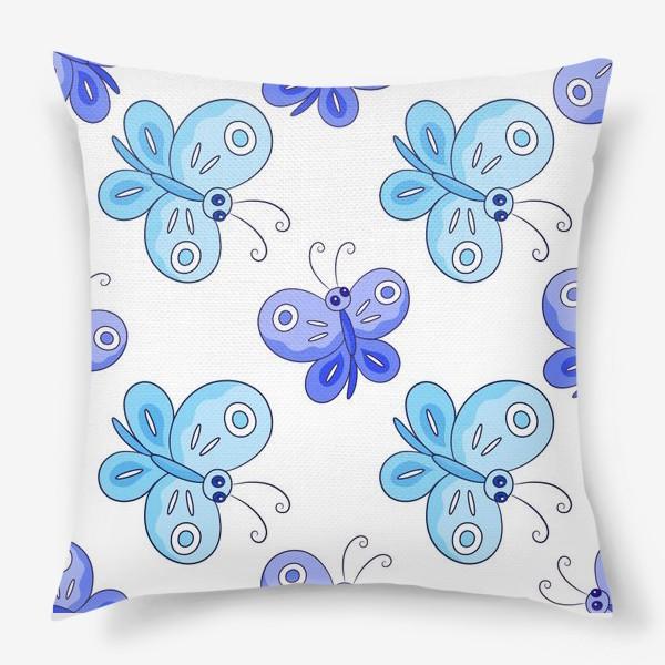 Подушка «Голубые и фиолетовые бабочки»