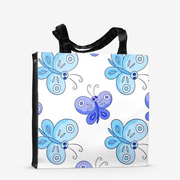 Сумка-шоппер «Голубые и фиолетовые бабочки»