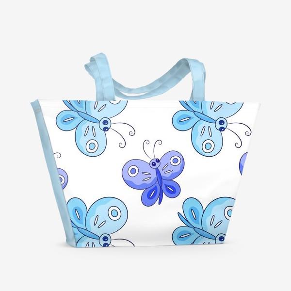 Пляжная сумка «Голубые и фиолетовые бабочки»