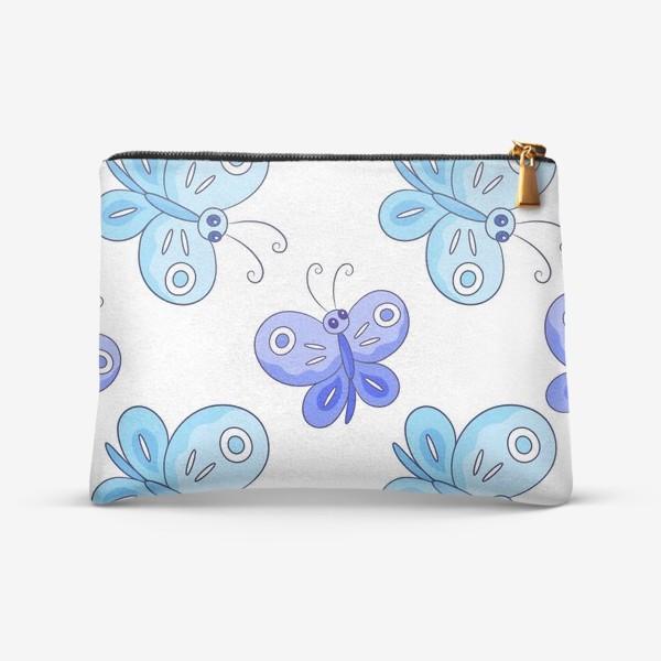Косметичка «Голубые и фиолетовые бабочки»