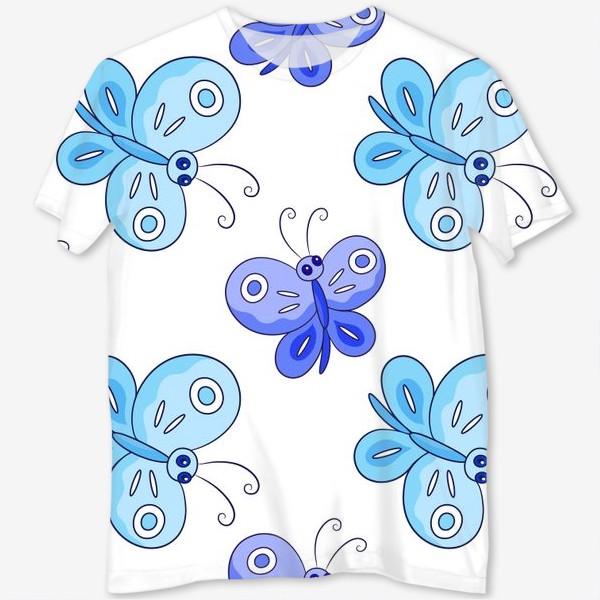 Футболка с полной запечаткой «Голубые и фиолетовые бабочки»
