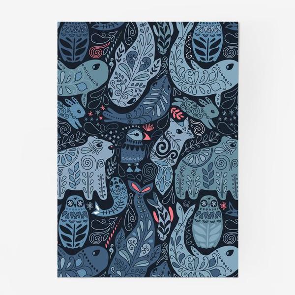 Постер «Друзья Арктики. Зимние животные. Медведь, тупик, нарвал, кит, заяц, лиса, сова, морской котик, тюлень.»