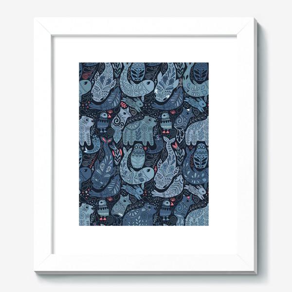 Картина «Друзья Арктики. Зимние животные. Медведь, тупик, нарвал, кит, заяц, лиса, сова, морской котик, тюлень.»