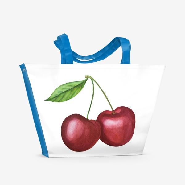 Пляжная сумка «Спелая черешня. Акварель»