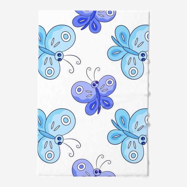 Полотенце «Голубые и фиолетовые бабочки»
