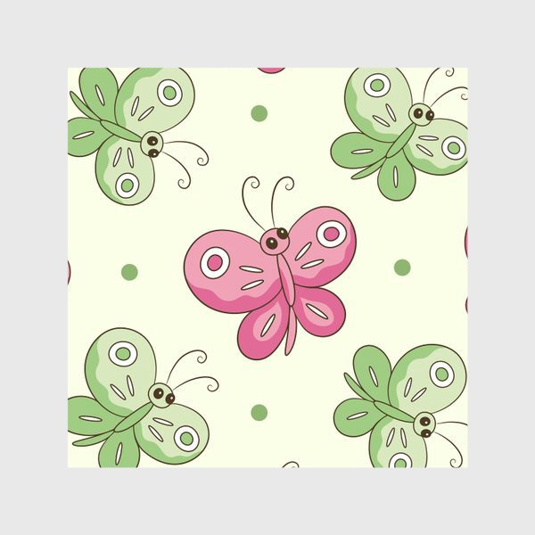 Шторы «Розовые и зеленые бабочки»