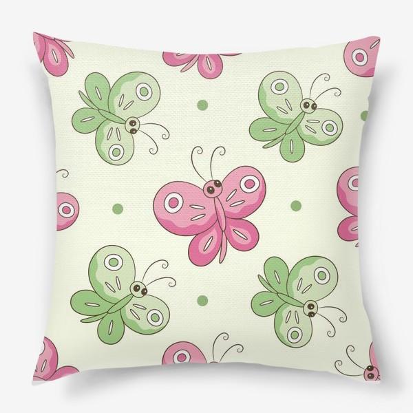 Подушка «Розовые и зеленые бабочки»