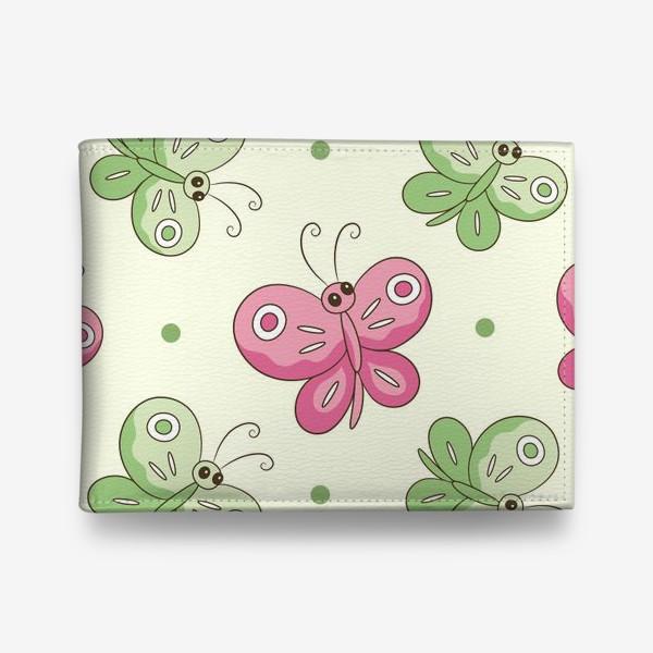 Кошелек «Розовые и зеленые бабочки»