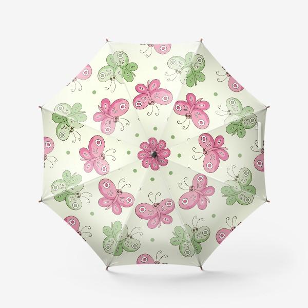 Зонт «Розовые и зеленые бабочки»