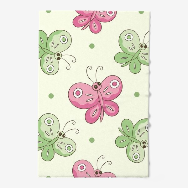 Полотенце «Розовые и зеленые бабочки»