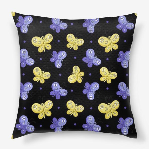 Подушка «Желтые и фиолетовые бабочки на черном»