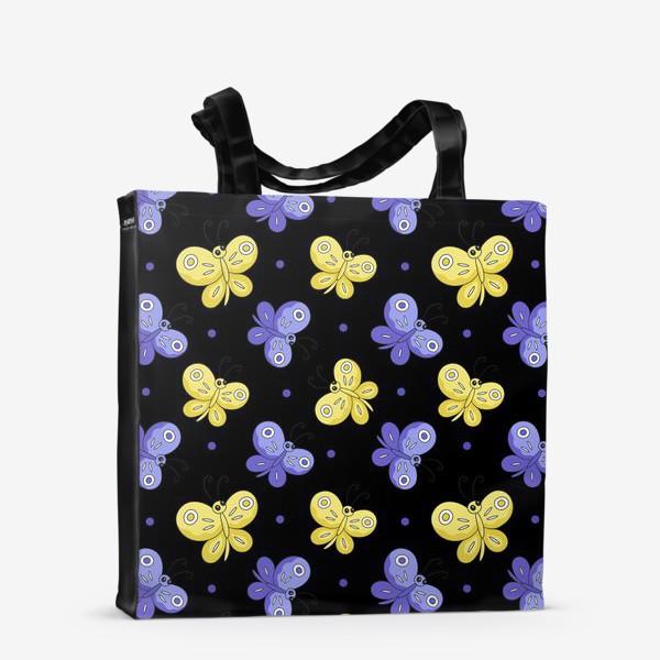 Сумка-шоппер «Желтые и фиолетовые бабочки на черном»