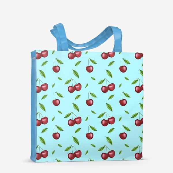 Сумка-шоппер «Черешня, вишня на голубом»