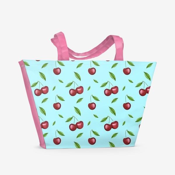 Пляжная сумка «Черешня, вишня на голубом»