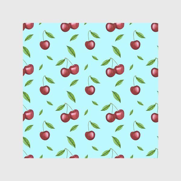 Скатерть «Черешня, вишня на голубом»