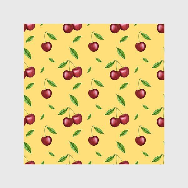 Шторы «Черешня, вишня на желтом»