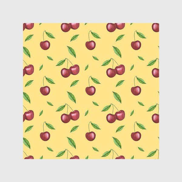 Скатерть «Черешня, вишня на желтом»