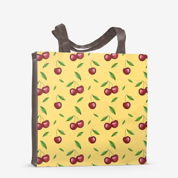 Сумка-шоппер «Черешня, вишня на желтом»