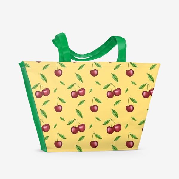 Пляжная сумка «Черешня, вишня на желтом»