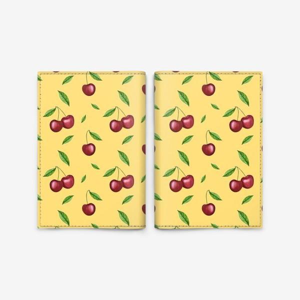 Обложка для паспорта «Черешня, вишня на желтом»