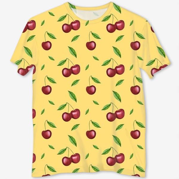 Футболка с полной запечаткой «Черешня, вишня на желтом»