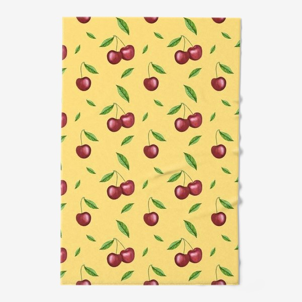 Полотенце «Черешня, вишня на желтом»