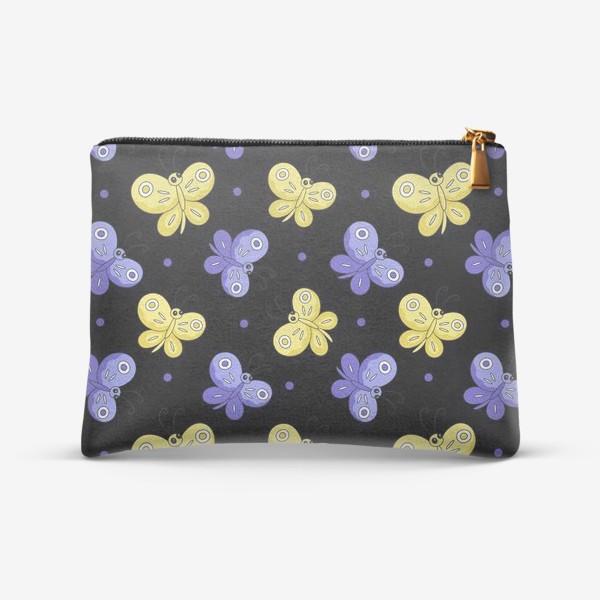 Косметичка «Желтые и фиолетовые бабочки на черном»