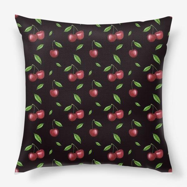 Подушка «Черешня, вишня на чёрном»