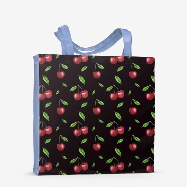 Сумка-шоппер «Черешня, вишня на чёрном»