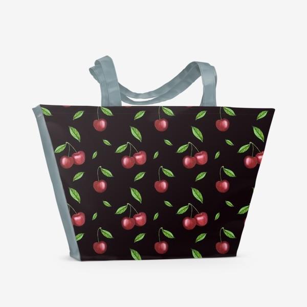Пляжная сумка «Черешня, вишня на чёрном»