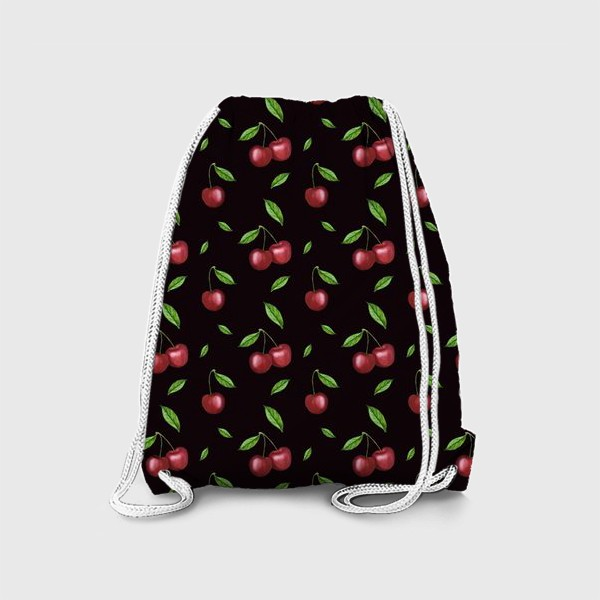 Рюкзак «Черешня, вишня на чёрном»