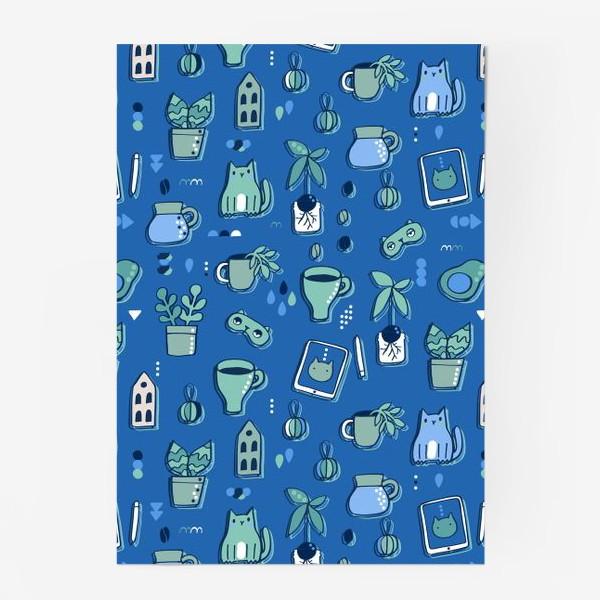 Постер «Мне уютно. Синий паттерн с котом, кофе, цветами.»